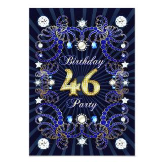 46. Geburtstags-Party laden mit Massen der Juwelen Individuelle Ankündigungskarte
