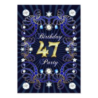 47. Geburtstags-Party laden mit Massen der Juwelen 12,7 X 17,8 Cm Einladungskarte
