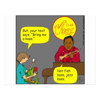 480 Baß nicht Bass-Cartoon Postkarte