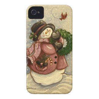 4886 Snowmanwreath-Kardinal iPhone 4 Case-Mate Hülle