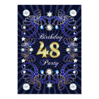 48. Geburtstags-Party laden mit Massen der Juwelen 12,7 X 17,8 Cm Einladungskarte