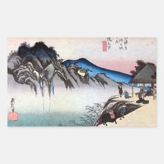 49. 坂下宿, 広重 Sakashita-juku, Hiroshige, Ukiyo-e Rechteckige Sticker