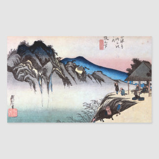 49. 坂下宿, 広重 Sakashita-juku, Hiroshige, Ukiyo-e Rechteckiger Aufkleber