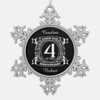 4. beunruhigtes Wappen des Hochzeitsjahrestages Schneeflocken Zinn-Ornament