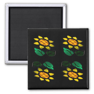 4 Blumen-beflecktes Glas-Quadrat-Magnet Quadratischer Magnet