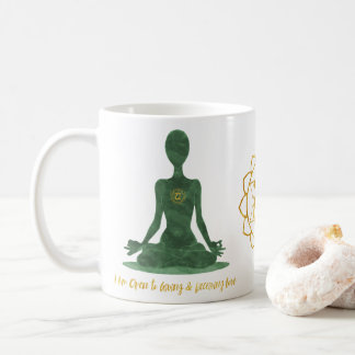 4. Chakra Herz Anahata grüne Bestätigung Kaffeetasse