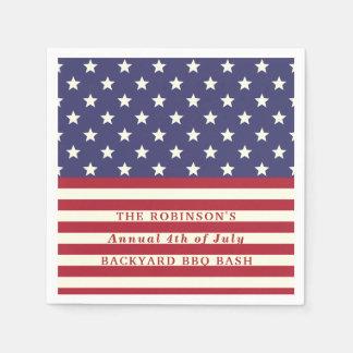 4. der Juli-Flaggen-patriotischen Sterne Stripes | Servietten
