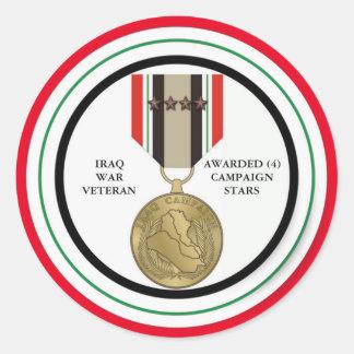 4 DER KAMPAGNEN-STERN-IRAK-KRIEGSVETERAN RUNDER STICKER