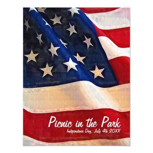4. des Juli-Picknick-Unabhängigkeitstags laden ein Einladungen