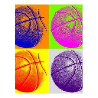4 FarbPop-Kunst-Basketball Postkarte