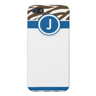 4 flippiges Zebra-Blau/Schokolade Etui Fürs iPhone 5