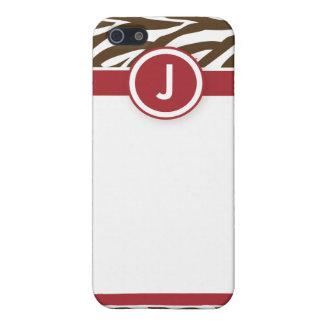 4 flippiges Zebra-Rot/Schokolade Schutzhülle Fürs iPhone 5