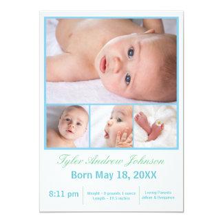 4 Foto-Collage weiß/Blau - Geburts-Mitteilung 12,7 X 17,8 Cm Einladungskarte