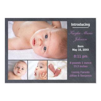 4 Foto-Collagen-Tafel - Geburts-Mitteilung 12,7 X 17,8 Cm Einladungskarte