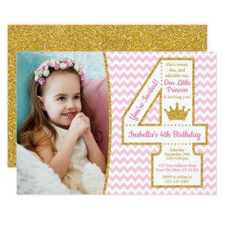 4. Geburtstag Rosa und Gold Karte