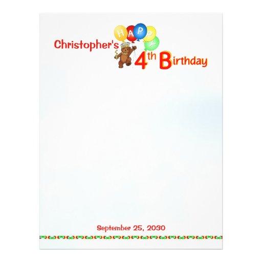 4. Geburtstag trägt Einklebebuch-Papier 1 Flyer