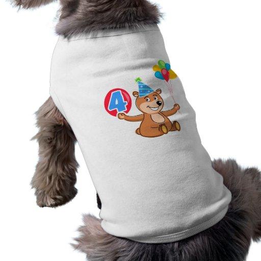 4. Geburtstags-Bär mit Ballonen Hundetshirts