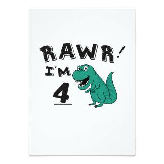 4. Geburtstags-Dinosaurier-Geschenk für 4-Jährige Karte