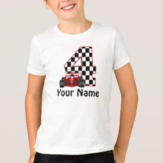 4. Geburtstags-Jungen-Rennen-Auto-T - Shirt
