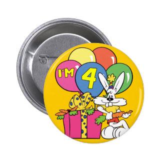 4. Geburtstags-Kaninchen Runder Button 5,1 Cm