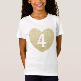 4. Geburtstags-Mädchen-Glitterherz personalisiert T-Shirt