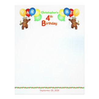 4. Geburtstags-Party-königliches Bärn-Einklebebuch 21,6 X 27,9 Cm Flyer