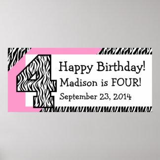 4. GeburtstagZebra mit rosa individuellem Namen Posterdruck