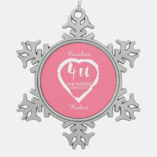 4. Hochzeitstag-Leinen Slik Schneeflocken Zinn-Ornament