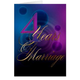 4 Jahre der Heirat (Jahrestagskarte) Karte