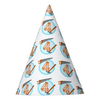 4-Jährige Geburtstags-Party-Erbauerthema Partyhütchen