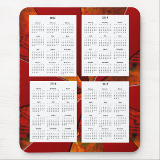 4-jähriger Kalender (2012-2015) auf weißem rotem Mousepads