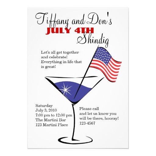 4. Juli MartiniShindig! Personalisierte Ankündigungskarten