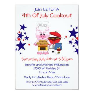 4. Julicookout-der lustigen Schwein-Hamburger und 16,5 X 22,2 Cm Einladungskarte