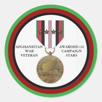 4 KAMPAGNEN-STERN-AFGHANISTAN-KRIEGSVETERAN RUNDER AUFKLEBER
