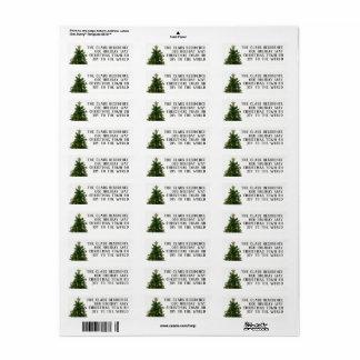 4 Linie Weihnachtsbaum-Rücksendeadressen-Aufkleber