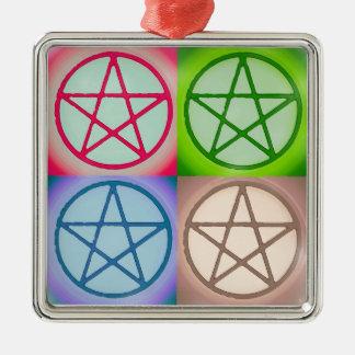 4 Pentagrams Quadratisches Silberfarbenes Ornament