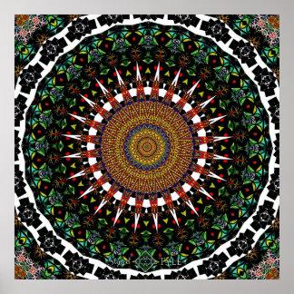 4 Quadrat. Strudel-Mandala Poster