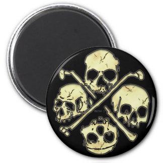4 Schädel-Magneten Runder Magnet 5,7 Cm