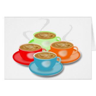 4 Schalen Kaffee-Mitteilungskarten Karte