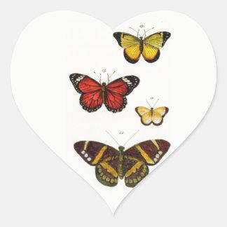4 Schmetterlinge - Aufkleber in form des Herzens