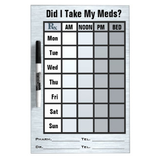 4 Column Medication Check List - Personalized