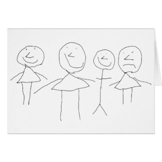 4 Strichmännchen Grußkarte