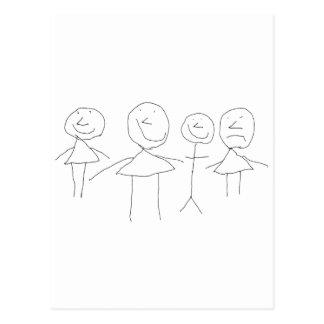 4 Strichmännchen Postkarten