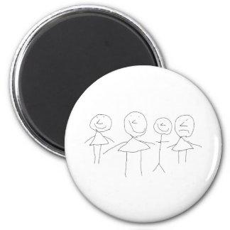 4 Strichmännchen Runder Magnet 5,1 Cm