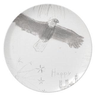 4' Th des kahlen Adlers Juli-Feuerwerke, der Melaminteller