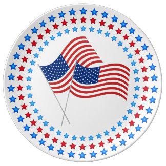 4. Von der Juli-Feier USA-Flaggen-Porzellan-Platte Porzellanteller