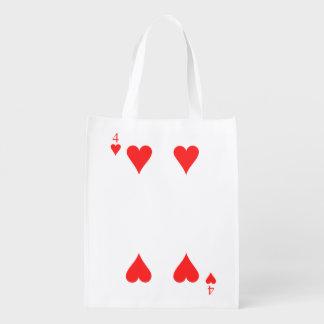 4 von Herzen Wiederverwendbare Einkaufstasche
