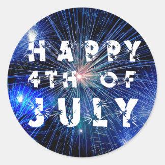 4. von Juli-Feuerwerken im blauen FarbParty Runder Aufkleber
