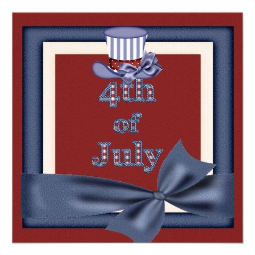 4. von Juli-Party-Uncle Sam Hut lädt ein Einladungskarten