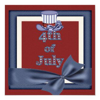 4. von Juli-Party-Uncle Sam Hut lädt ein Quadratische 13,3 Cm Einladungskarte